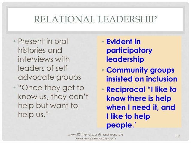 """RELATIONAL LEADERSHIP • Present in oral histories and interviews with leaders of self advocate groups • """"Once they get to ..."""