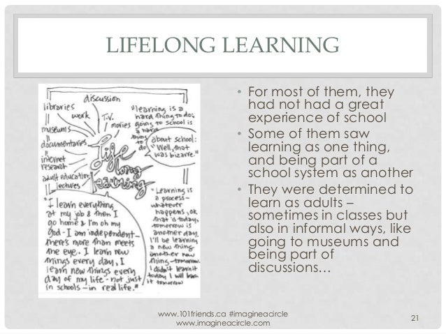 LIFELONG LEARNING • For most of them, they had not had a great experience of school • Some of them saw learning as one thi...