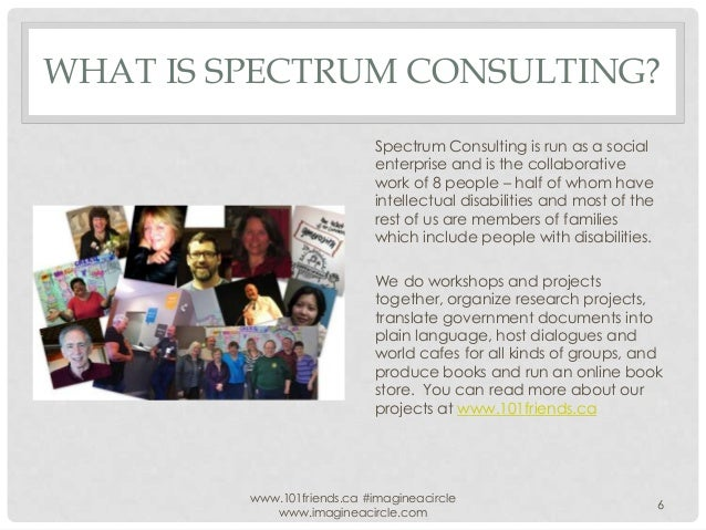 WHAT IS SPECTRUM CONSULTING? Spectrum Consulting is run as a social enterprise and is the collaborative work of 8 people –...