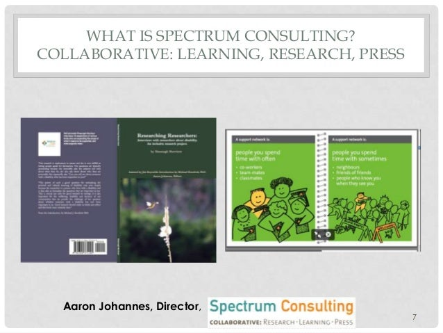 WHAT IS SPECTRUM CONSULTING? COLLABORATIVE: LEARNING, RESEARCH, PRESS  Aaron Johannes, Director, 7
