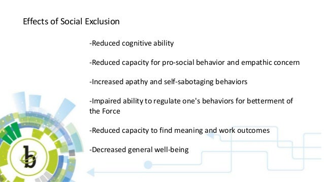 Effects of Social Exclusion -Reduced cognitive ability -Reduced capacity for pro-social behavior and empathic concern -Inc...