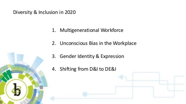 Diversity & Inclusion in 2020 1. Multigenerational Workforce 2. Unconscious Bias in the Workplace 3. Gender Identity & Exp...