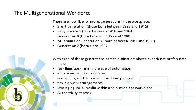 The Multigenerational Workforce There are now five, or more, generations in the workplace: • Silent generation (those born...
