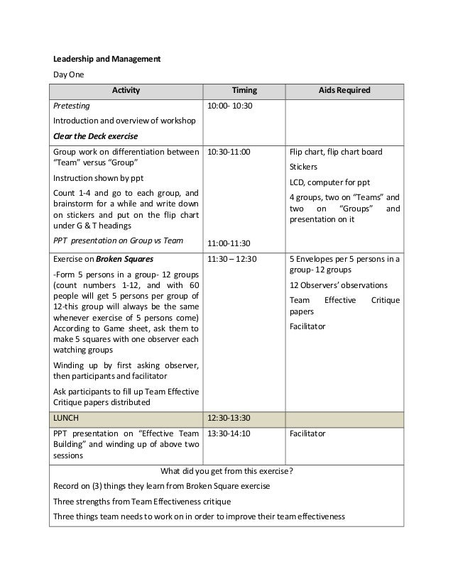 exercise session plan template