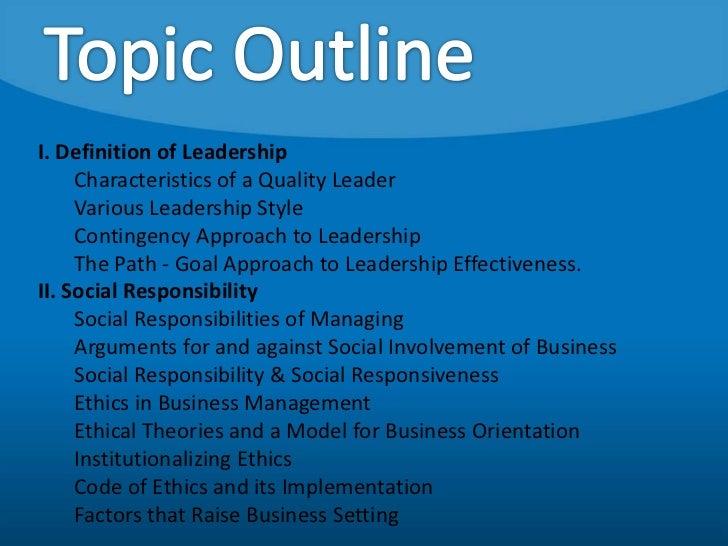 Leadership and social responsibility