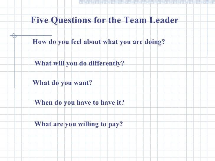 Leadership And Team Building Skills