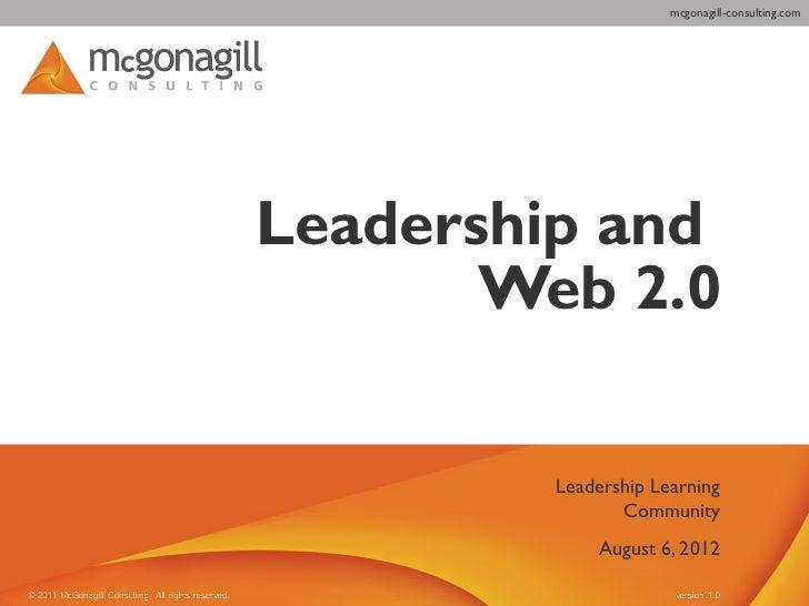 mcgonagill-consulting.comLeadership and       Web 2.0         Leadership Learning                Community             Aug...