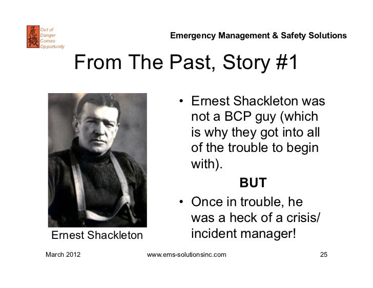 shackleton leadership in crisis Shackleton's way has 1,426 ratings and 130 reviews omar said: below are key excerpts from the book that i found particularly insightful:1- shackleton.