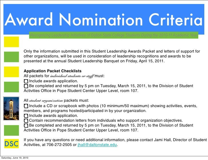 Leadership Awards And Criteria Pdf