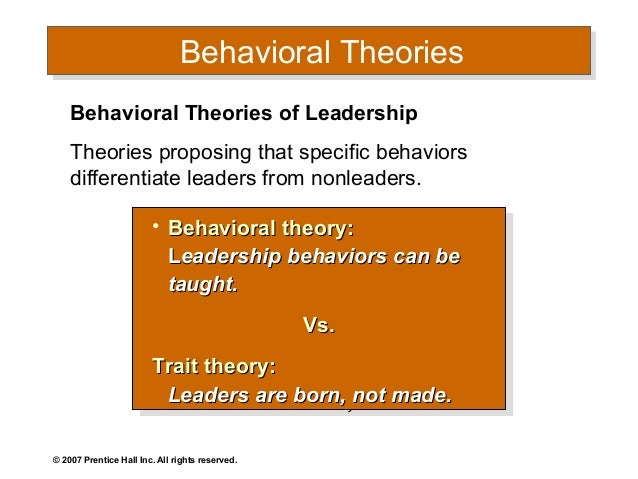 leadership approach paper behavioral approach
