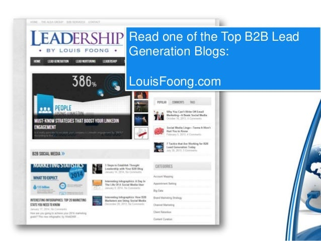 Read one of the Top B2B Lead Generation Blogs:  LouisFoong.com
