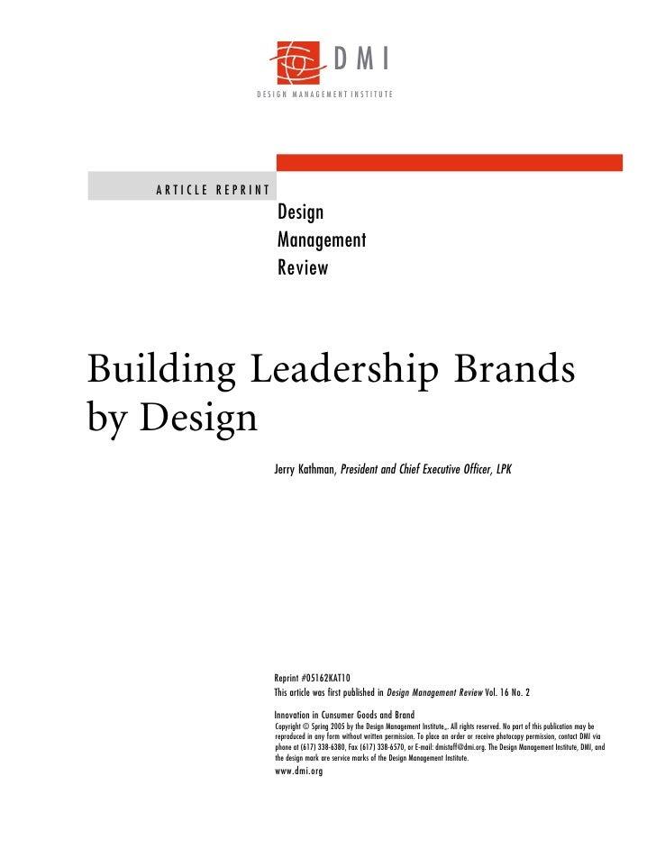 DMI                DESIGN MANAGEMENT INSTITUTE   ARTICLE REPRINT                     Design                     Management...