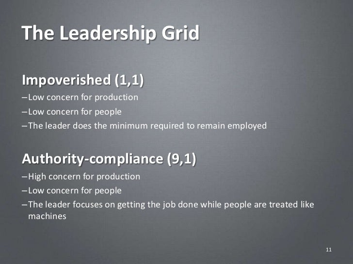 The Leadership GridImpoverished (1,1)– Low concern for production– Low concern for people– The leader does the minimum req...