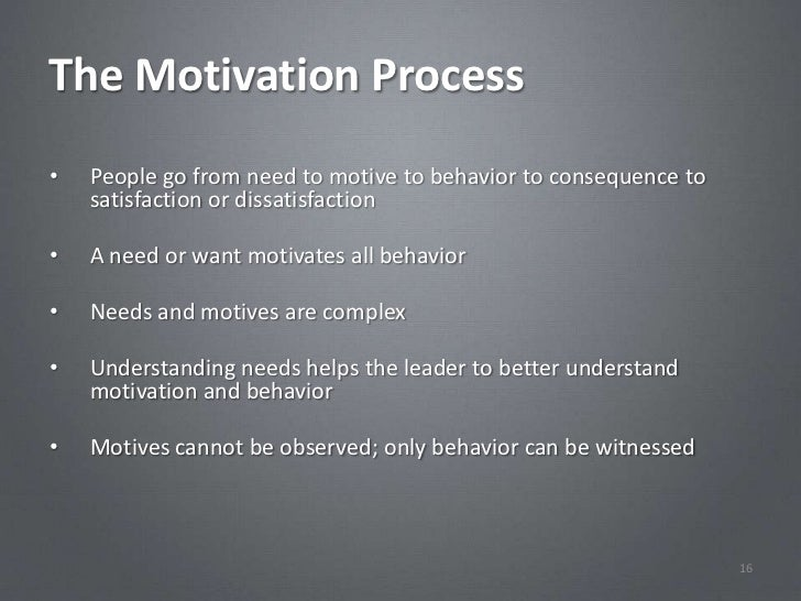 The Motivation Process•   People go from need to motive to behavior to consequence to    satisfaction or dissatisfaction• ...