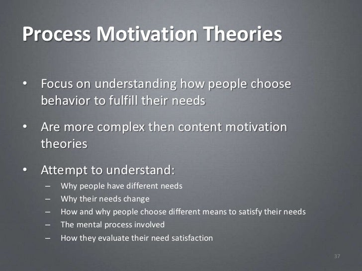 Process Motivation Theories• Focus on understanding how people choose  behavior to fulfill their needs• Are more complex t...