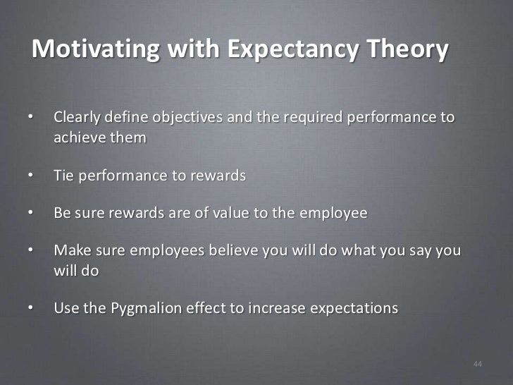 Motivating with Expectancy Theory•   Clearly define objectives and the required performance to    achieve them•   Tie perf...