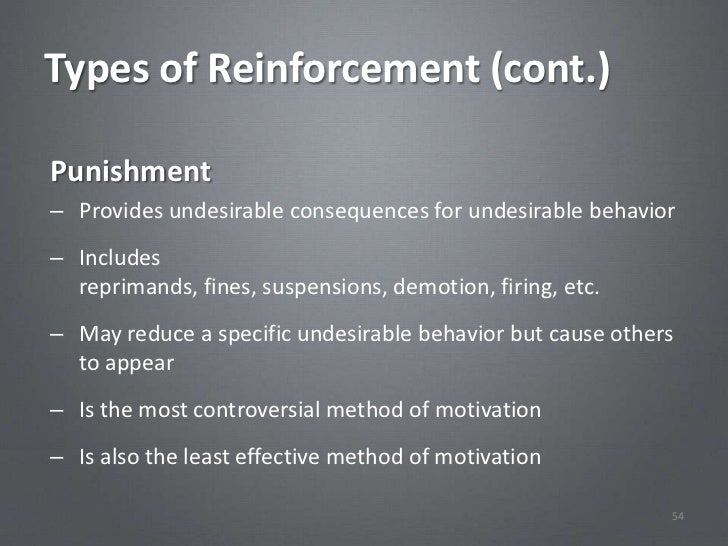 Types of Reinforcement (cont.)Punishment– Provides undesirable consequences for undesirable behavior– Includes  reprimands...