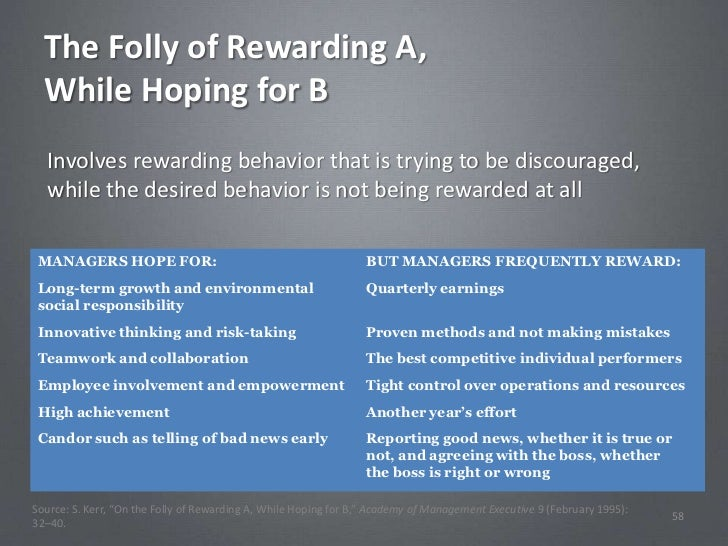 The Folly of Rewarding A,  While Hoping for B  Involves rewarding behavior that is trying to be discouraged,  while the de...