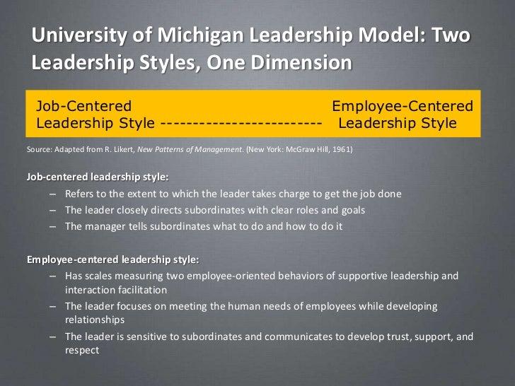 University of Michigan Leadership Model: Two Leadership Styles, One Dimension  Job-Centered                               ...