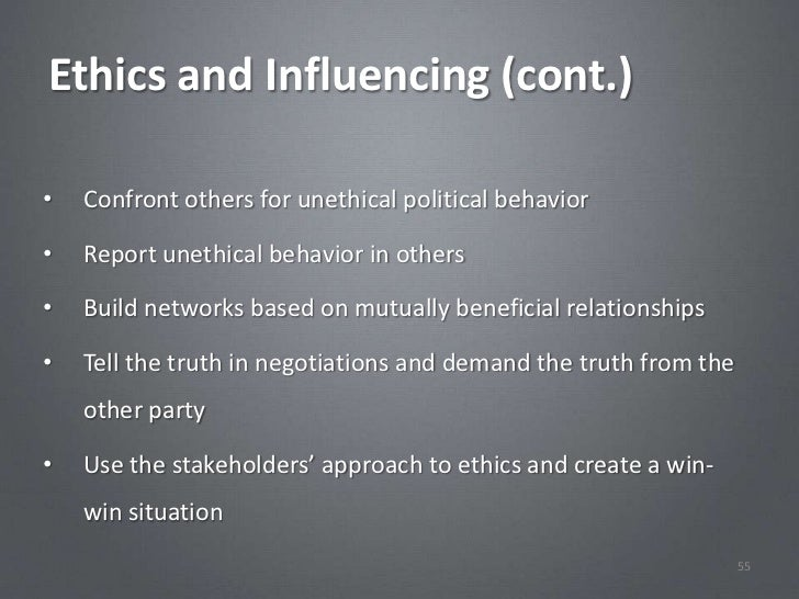 ethical and unethical tactics for influencing Avoiding ethical misconduct disasters  (unethical) value paradigm (ie financial or perceived performance) are less aware of ethical implications and more .