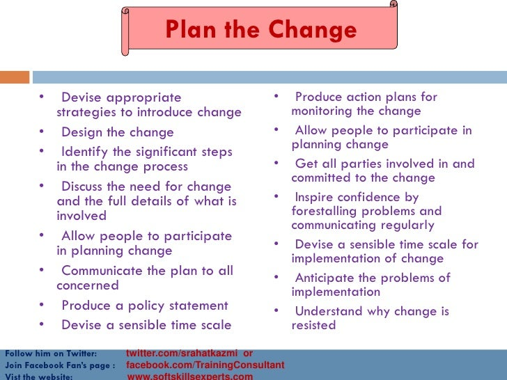 the implementation of planning and leading I worked for an organization that we were implementing some change  or a  change in an employee benefit plan, change needs to be managed to  john  kotter has a great book, leading change, with a new preface , that i.