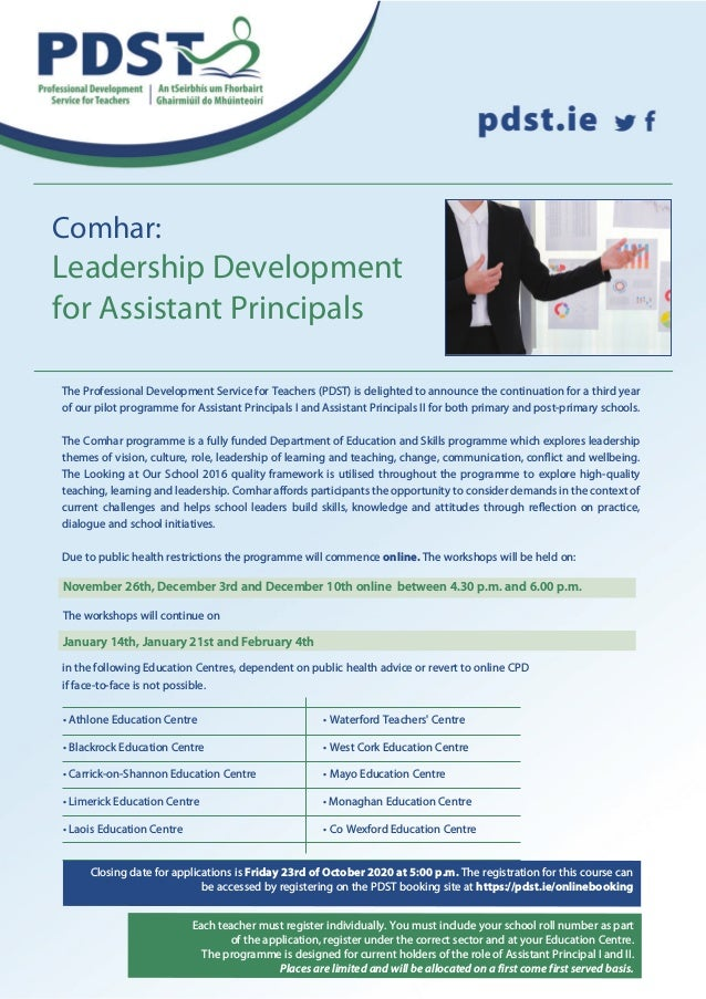 Comhar: Leadership Development for Assistant Principals Closing date for applications is Friday 23rd of October 2020 at 5:...