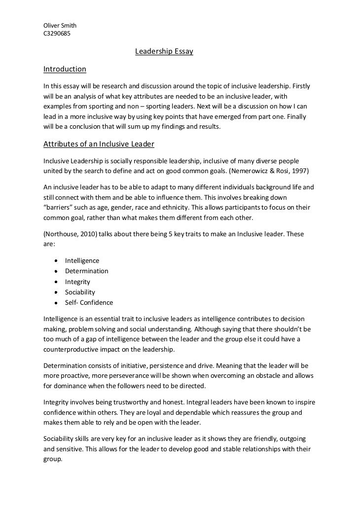 Exemplification Essay Thesis Oliver Smithc Leadership Essayintroductionin This Essay Will Be  Research And  What Is A Thesis In An Essay also High School Dropouts Essay Leadership Essay Business Cycle Essay