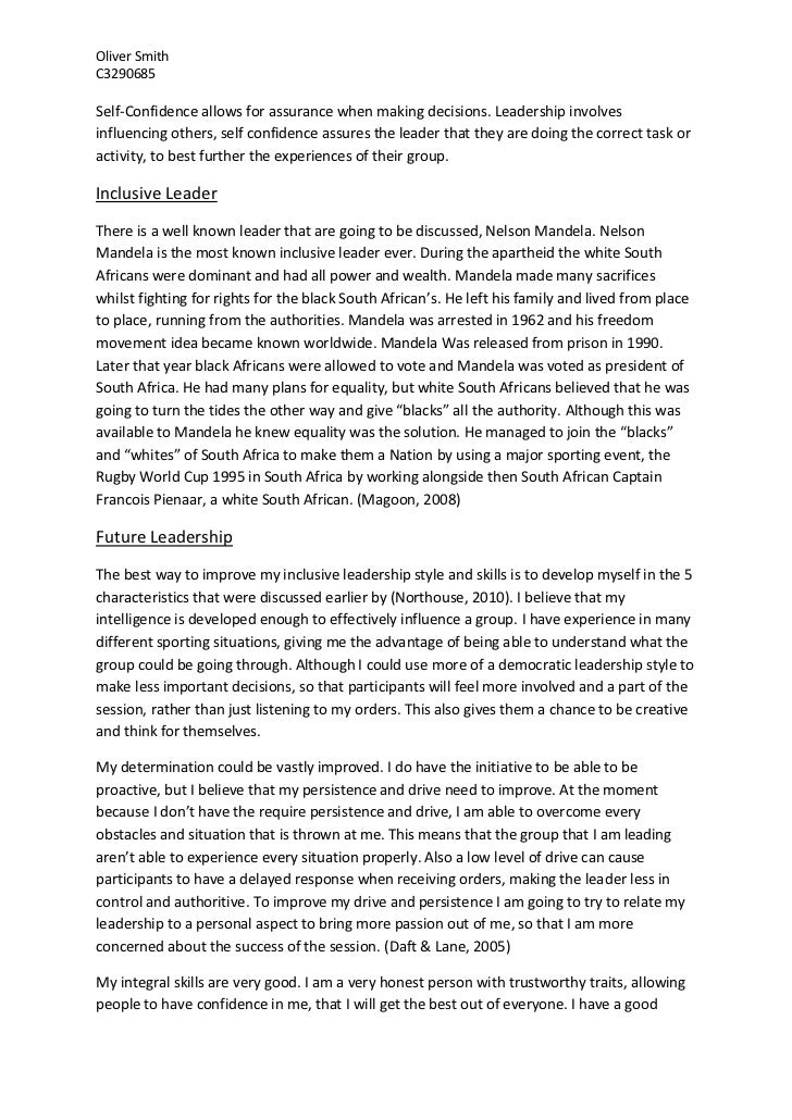 leadership essay 2 oliver smithc3290685self confidence allows for assurance when making decisions