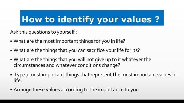 How to identify your values ? Ask this questions to yourself :  What are the most important things for you in life?  Wha...