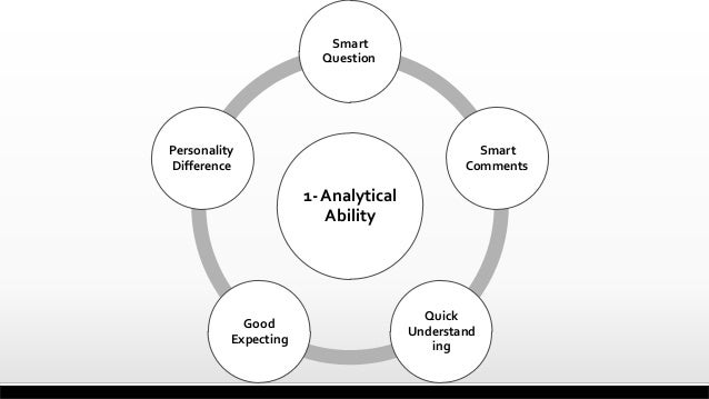 1- Analytical Ability Smart Question Smart Comments Quick Understand ing Good Expecting Personality Difference