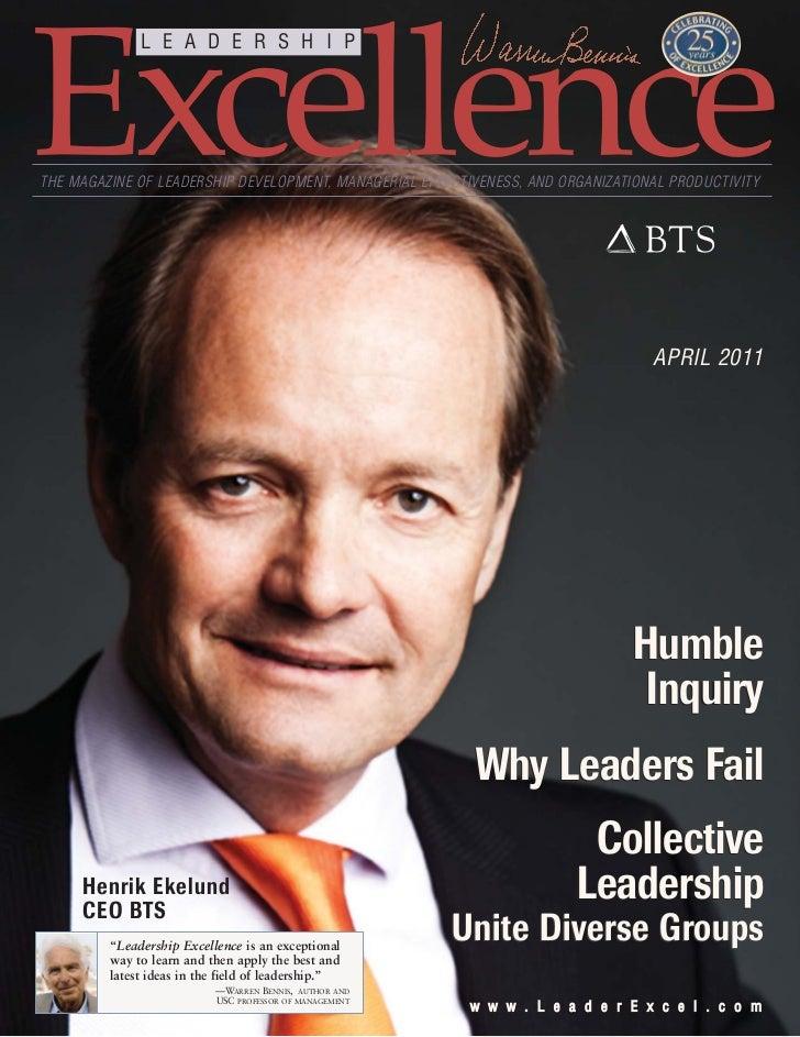 Excellence              L E A D E R S H I PTHE MAGAZINE OF LEADERSHIP DEVELOPMENT, MANAGERIAL EFFECTIVENESS, AND ORGANIZAT...