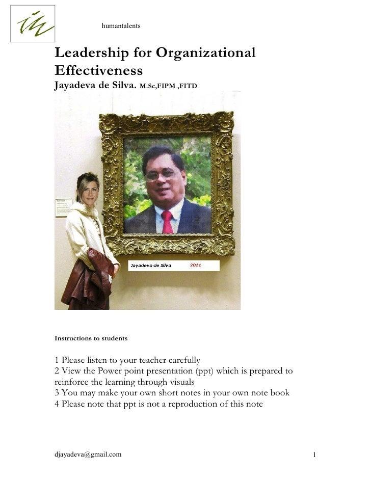 Leadershipfor organizational effectiveness