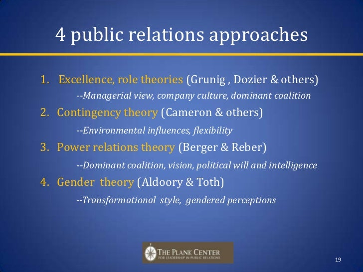 excellence theory of public relations As an alternative to the theory of excellence in public relations developed by james grunig based on the 2-way symmetrical communication model in public relations, the contingency theory provides an alternative to the highly normative nature of the excellence theory in public relations.