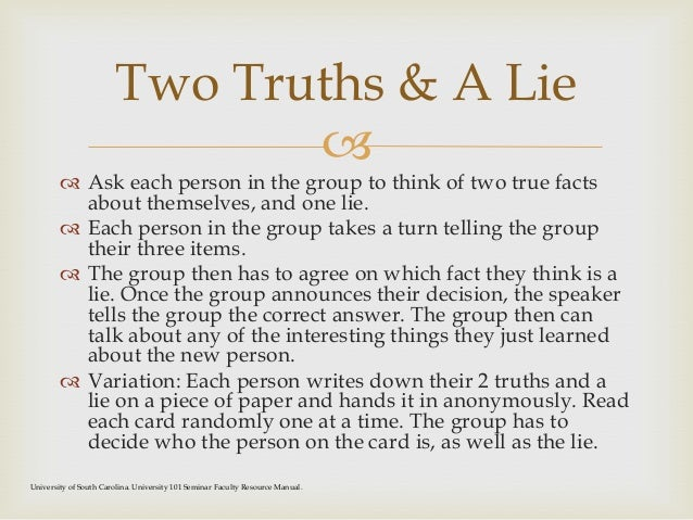 Two truths and a lie funny dating