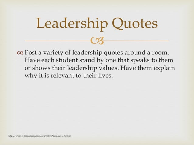  Leadership Values  Explain that it is important that leaders clarify their own sense of leadership values. Ask particip...