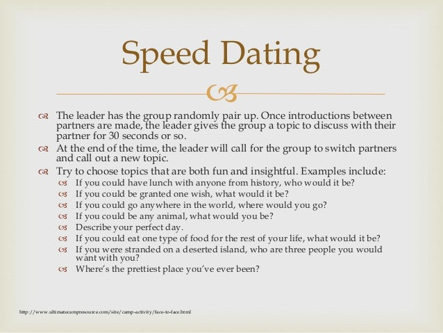 funny questions speed dating When it comes to funny dating questions, timing and matching the questions to the date is very important tip: try to find conversation topics, where your interests.