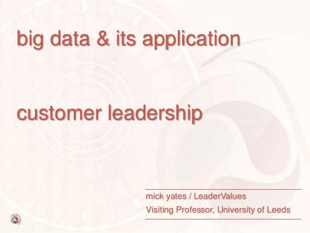 © mick yates 2015 page 1 big data & its application customer leadership mick yates / LeaderValues Visiting Professor, Univ...