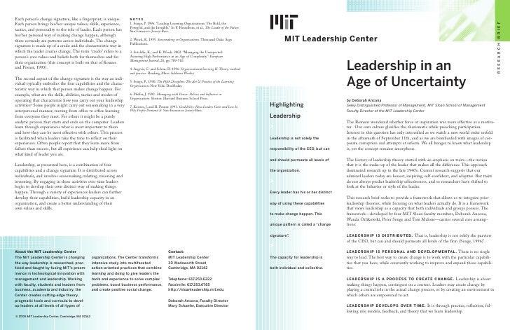 B R I E F         MIT Leadership Center                                                                                   ...