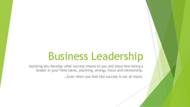Business Leadership Assisting you develop what success means to you and show how being a leader in your field takes, plann...