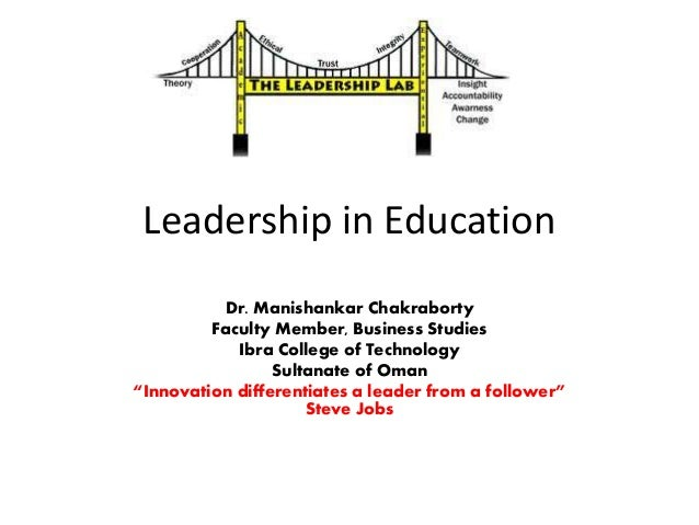 Leadership in Education Dr. Manishankar Chakraborty Faculty Member, Business Studies Ibra College of Technology Sultanate ...