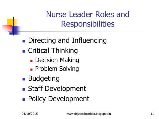 critical thinking in nursing leadership Critical thinking correlation studies nurse educators are registered nurses in leadership roles with a specific a measure of critical thinking, for nursing.