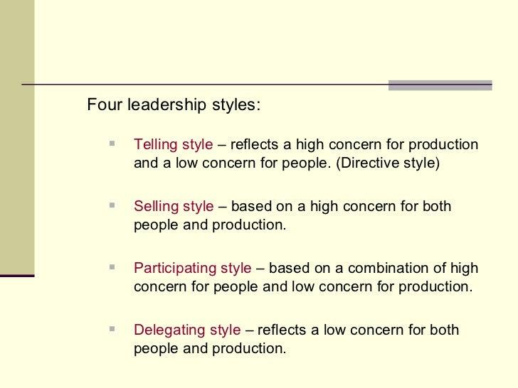 <ul><li>Four leadership styles: </li></ul><ul><ul><ul><li>Telling style  – reflects a high concern for production and a lo...
