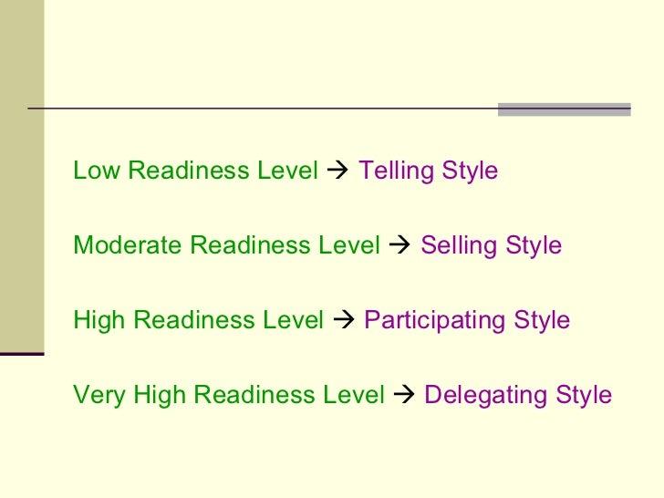 <ul><li>Low Readiness Level      Telling Style </li></ul><ul><li>Moderate Readiness Level      Selling Style </li></ul><...