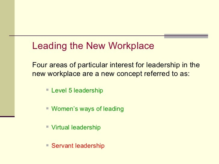 <ul><li>Leading the New Workplace </li></ul><ul><li>Four areas of particular interest for leadership in the new workplace ...