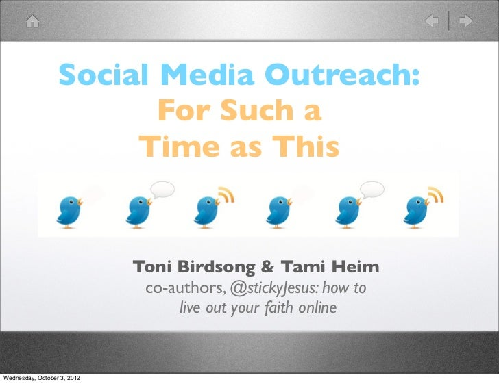 Social Media Outreach:                         For Such a                       Time as This                             T...