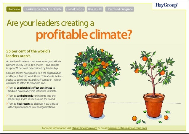 Overview  Leadership's effect on climate  Global trends  Real results  Download our guide  Are your leaders creating a  pr...