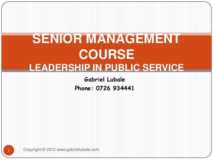 Leadership work in public services level