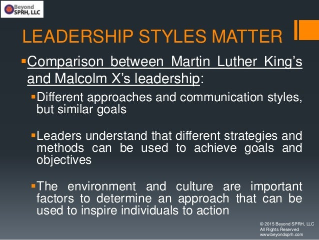 LEADERSHIP STYLES MATTER Comparison between Martin Luther King's and Malcolm X's leadership: Different approaches and co...
