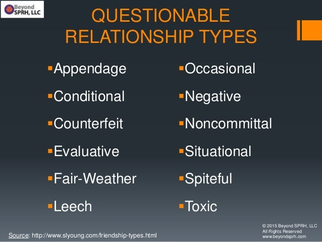 QUESTIONABLE RELATIONSHIP TYPES Appendage Conditional Counterfeit Evaluative Fair-Weather Leech Occasional Negativ...