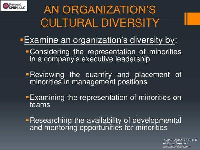 AN ORGANIZATION'S CULTURAL DIVERSITY Examine an organization's diversity by: Considering the representation of minoritie...